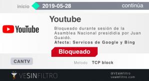 Alerta: Bloqueado YouTube por Cantv durante la sesión de la Asamblea Nacional #28May