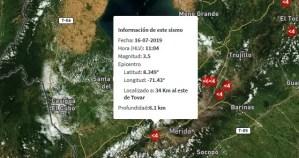 Sismo de magnitud 3.5 en al este Tovar
