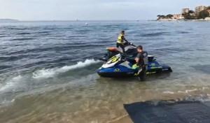 Delfines interrumpen la final del campeonato francés de jet ski