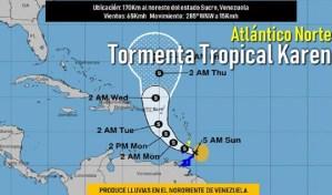 Se esperan lluvias fuertes con el paso por Venezuela de la tormeta tropical Karen