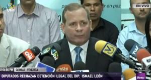 Diputados rechazaron la detención ilegal del parlamentario Ismael León