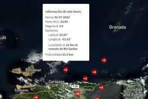 Se registró sismo de magnitud 3.0 en Río Caribe