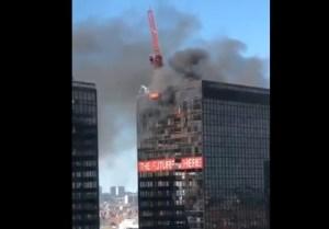 Incendio en el World Trade Center de Bruselas (Video)