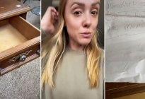 """Una """"tiktoker"""" compra muebles de segunda mano y encuentra una nota relacionada con su infancia en su interior"""