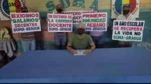 Docentes aragüeños exigen cumplimiento del contrato colectivo (FOTOS)